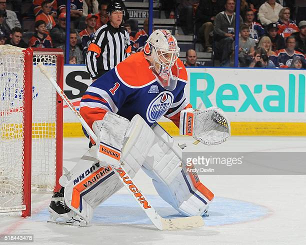 Laurent Brossoit of the Edmonton Oilers prepares to make a save during a game against the Colorado Avalanche on March 20 2016 at Rexall Place in...