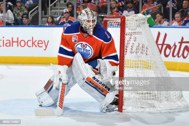 Laurent Brossoit of the Edmonton Oilers prepares to make a save during the game against the Colorado Avalanche on March 25 2017 at Rogers Place in...