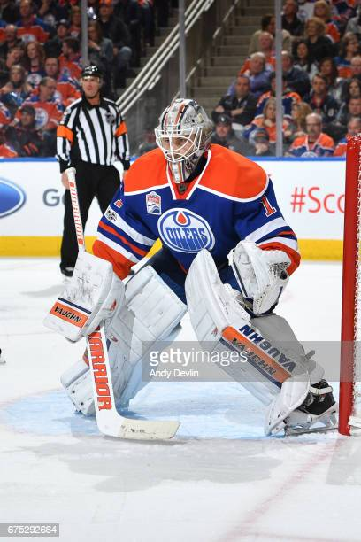 Laurent Brossoit of the Edmonton Oilers prepares to makes a save during the game against the Vancouver Canucks on April 9 2017 at Rogers Place in...