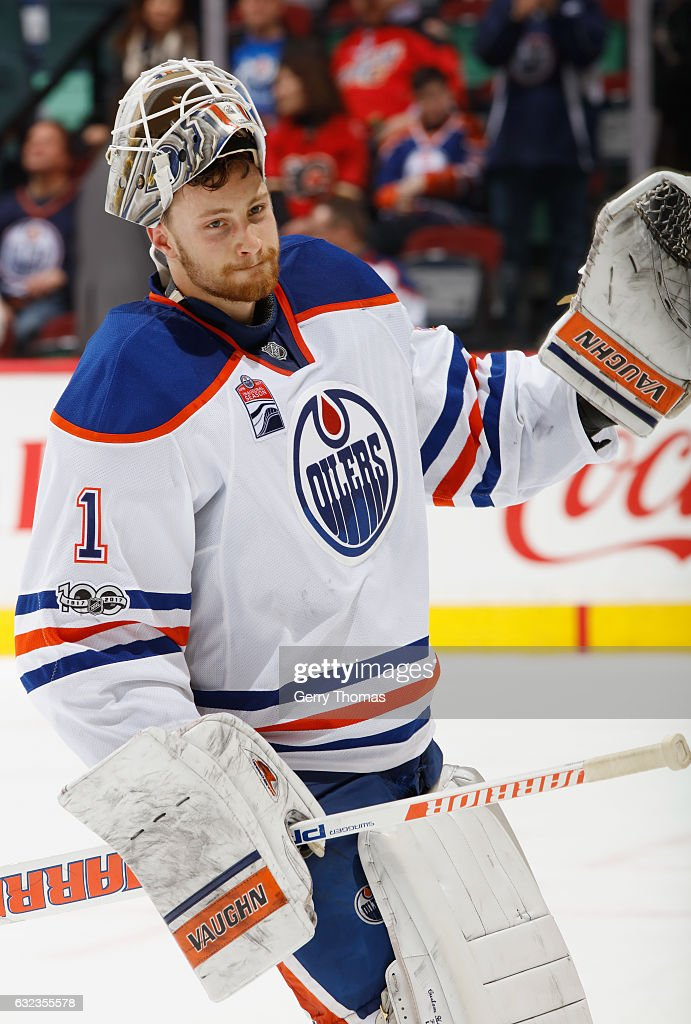 Laurent Brossoit #1 of the Edmonton Oilers salutes the crowd after a win against the Calgary Flames at Scotiabank Saddledome on January 21, 2017 in Calgary, Alberta, Canada.