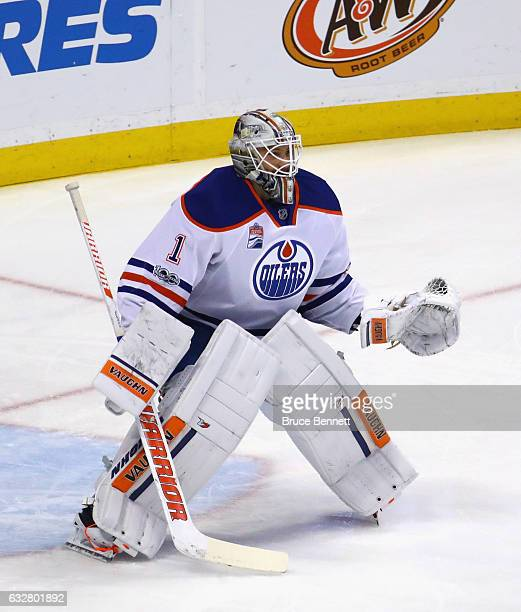 Laurent Brossoit of the Edmonton Oilers skates against the Anaheim Ducks at the Honda Center on January 25 2017 in Anaheim California The Oilers...