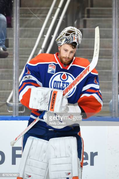 Laurent Brossoit of the Edmonton Oilers skates during the game against the Vancouver Canucks on April 9 2017 at Rogers Place in Edmonton Alberta...