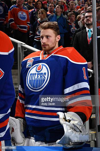 Laurent Brossoit of the Edmonton Oilers stands for the singing of the national anthem prior to the game against the New Jersey Devils on January 12...