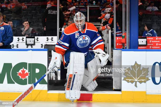 Laurent Brossoit of the Edmonton Oilers steps onto the ice prior to the game against the Vancouver Canucks on April 9 2017 at Rogers Place in...