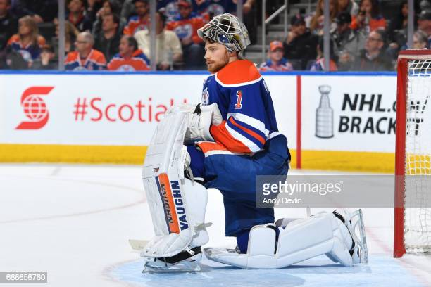 Laurent Brossoit of the Edmonton Oilers waits for play to start during the game against the Vancouver Canucks on April 9 2017 at Rogers Place in...