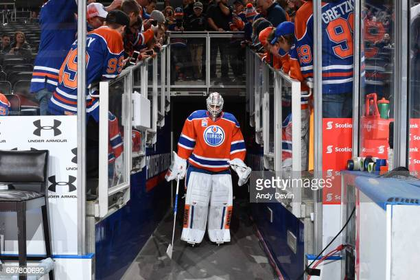 Laurent Brossoit of the Edmonton Oilers walks out to the ice prior to the game against the Colorado Avalanche on March 25 2017 at Rogers Place in...