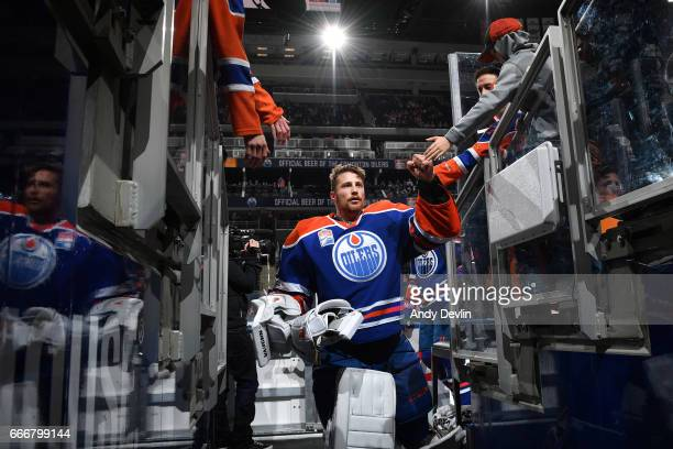 Laurent Brossoit of the Edmonton Oilers walks to the dressing room prior to the game against the Florida Panthers on January 18 2017 at Rogers Place...