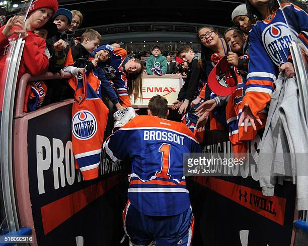 Laurent Brossoit of the Edmonton Oilers walks to the locker room prior to a game against the New York Islanders on February 28 2016 at Rexall Place...