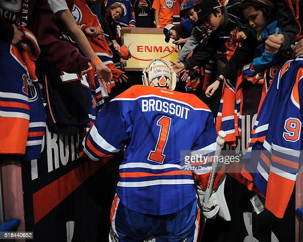 Laurent Brossoit of the Edmonton Oilers walks to the locker room prior to a game against the Nashville Predators on March 14 2016 at Rexall Place in...