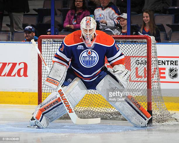 Laurent Brossoit of the Edmonton Oilers warms up prior to a game against the Nashville Predators on March 14 2016 at Rexall Place in Edmonton Alberta...