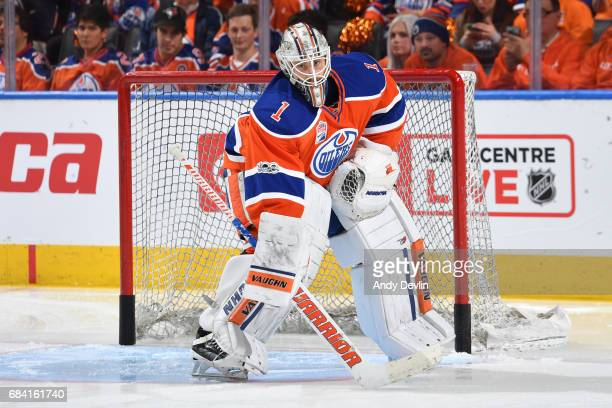 Laurent Brossoit of the Edmonton Oilers warms up prior to Game Two of the Western Conference First Round during the 2017 NHL Stanley Cup Playoffs...