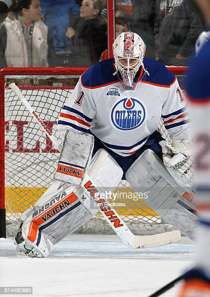 Laurent Brossoit of the Edmonton Oilers warms up prior to his game against the Philadelphia Flyers on March 3 2016 at the Wells Fargo Center in...