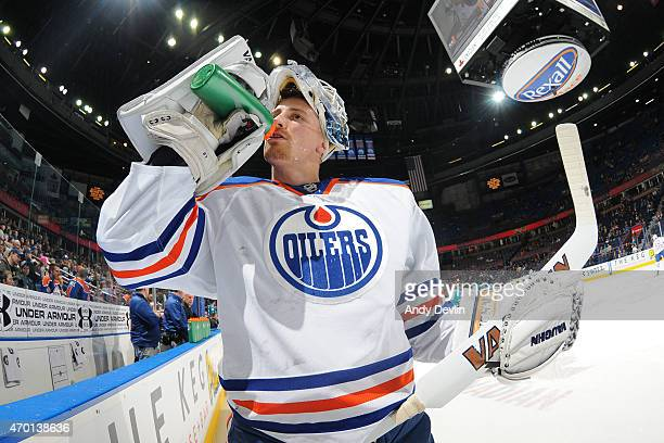 Laurent Brossoit of the Edmonton Oilers warms up prior to the game against the San Jose Sharks on April 9 2015 at Rexall Place in Edmonton Alberta...