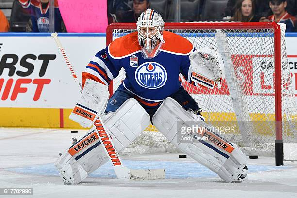 Laurent Brossoit of the Edmonton Oilers warms up prior to the game against the St Louis Blues on October 20 2016 at Rogers Place in Edmonton Alberta...