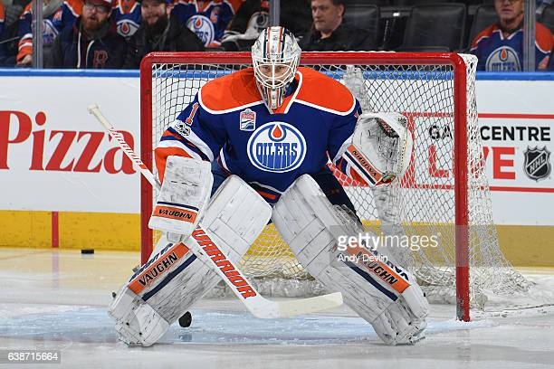 Laurent Brossoit of the Edmonton Oilers warms up prior to the game against the New Jersey Devils on January 12 2017 at Rogers Place in Edmonton...