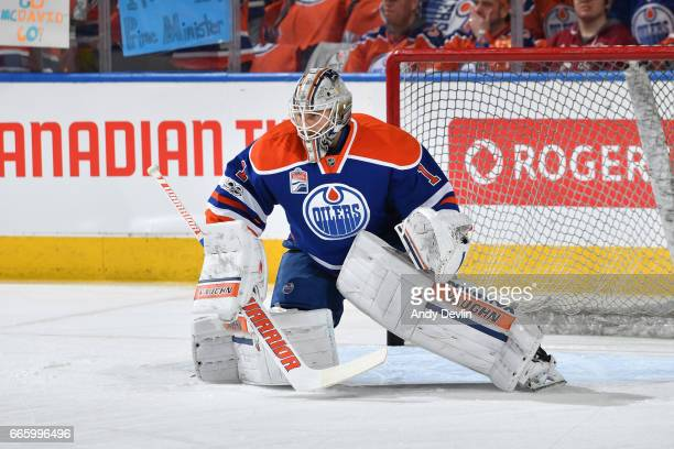 Laurent Brossoit of the Edmonton Oilers warms up prior to the game against the Los Angeles Kings on March 28 2017 at Rogers Place in Edmonton Alberta...