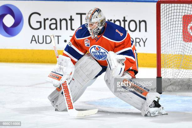 Laurent Brossoit of the Edmonton Oilers warms up prior to the game against the Colorado Avalanche on March 25 2017 at Rogers Place in Edmonton...