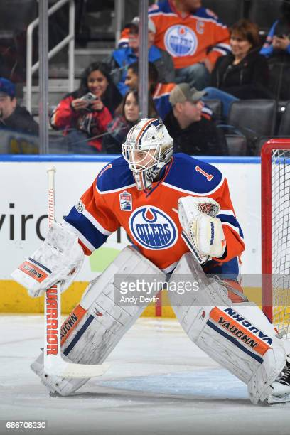Laurent Brossoit of the Edmonton Oilers warms up prior to the game against the Calgary Flames on January 14 2017 at Rogers Place in Edmonton Alberta...
