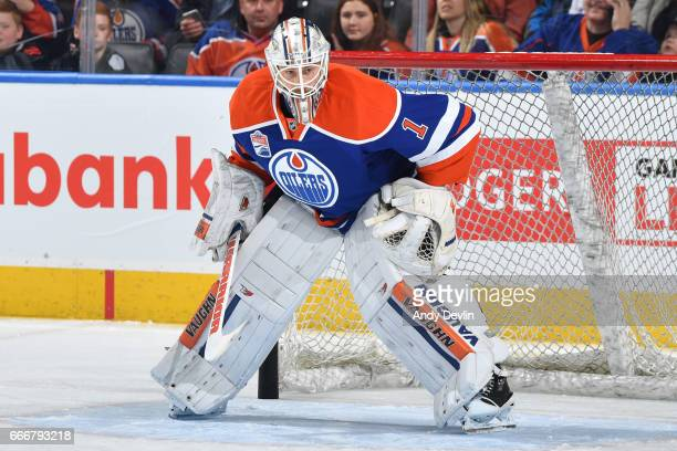 Laurent Brossoit of the Edmonton Oilers warms up prior to the game against the Arizona Coytoes on January 16 2017 at Rogers Place in Edmonton Alberta...