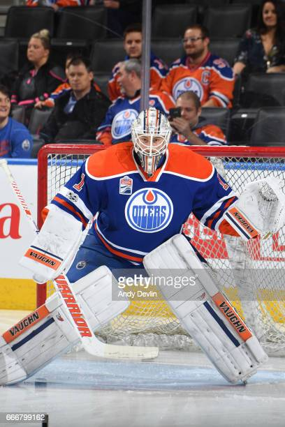 Laurent Brossoit of the Edmonton Oilers warms up prior to the game against the Florida Panthers on January 18 2017 at Rogers Place in Edmonton...
