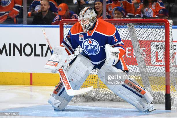 Laurent Brossoit of the Edmonton Oilers warms up prior to the game against the Vancouver Canucks on April 9 2017 at Rogers Place in Edmonton Alberta...