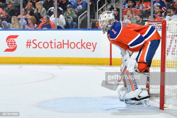 Laurent Brossoit of the Edmonton Oilers watches play from the net during the game against the Colorado Avalanche on March 25 2017 at Rogers Place in...