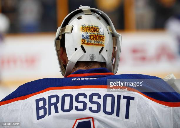 Laurent Brossoit of the Edmonton Oilers watches warmups prior to an NHL game against the Nashville Predators at Bridgestone Arena on February 2 2017...