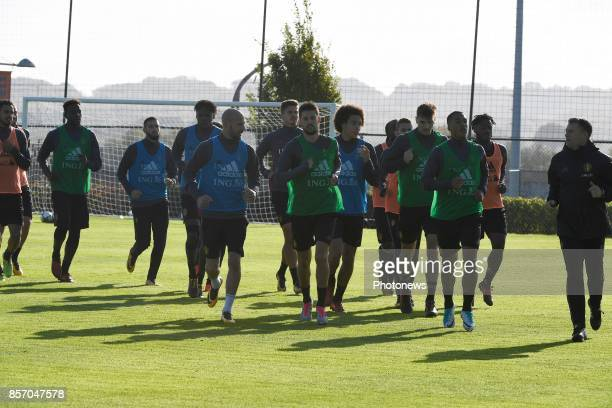 Laurent Ciman defender of Belgium and Kevin Mirallas forward of Belgium with Axel Witsel midfielder of Belgium during training session of the...