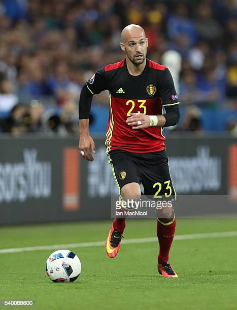Laurent Ciman of Belgium controls the ball during the UEFA EURO 2016 Group E match between Belgium and Italy at Stade des Lumieres on June 13 2016 in...