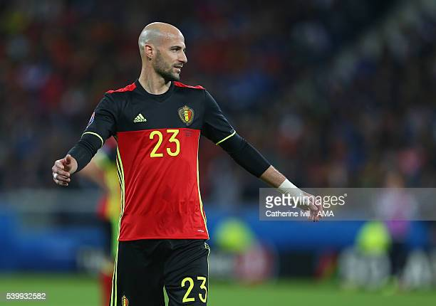 Laurent Ciman of Belgium during the UEFA EURO 2016 Group E match between Belgium and Italy at Stade des Lumieres on June 13 2016 in Lyon France