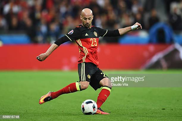 Laurent Ciman of Belgium in action during the UEFA EURO 2016 Group E match between Belgium and Italy at Stade des Lumieres on June 13 2016 in Lyon...