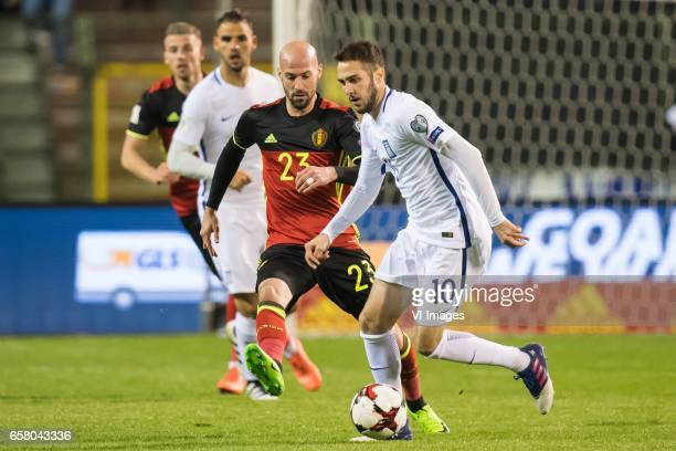 Laurent Ciman of Belgium Kostantinos Fortounis of Greeceduring the FIFA World Cup 2018 qualifying match between Belgium and Bosnie Herzegowina on...