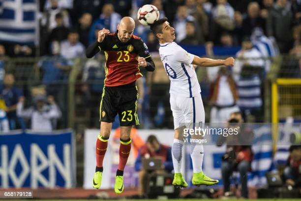 Laurent Ciman of Belgium Petros Mantalos of Greeceduring the FIFA World Cup 2018 qualifying match between Belgium and Bosnie Herzegowina on October...