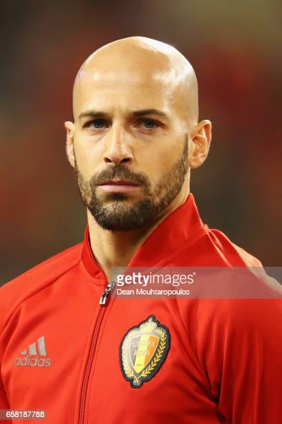 Laurent Ciman of Belgium stands for the national anthem prior to the FIFA 2018 World Cup Group H Qualifier match between Belgium and Greece at Stade...