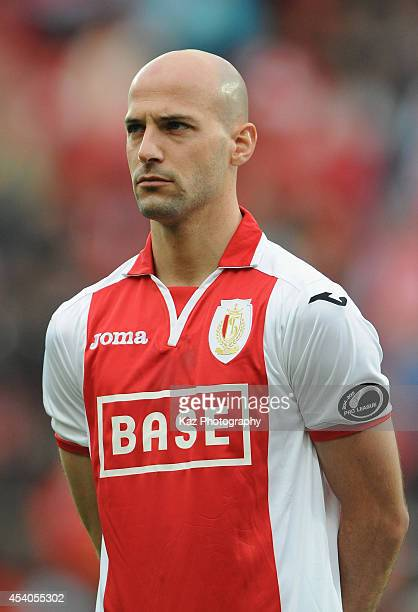 Laurent Ciman of Liege looks on prior to the Belgium Jupilar League match between Standard de Liege and Westerlo at Stade Maurice Dufrasne on August...