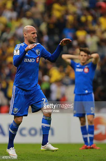Laurent Ciman of Montreal Impact reacts during a Championship first leg match between America and Montreal Impact as part of CONCACAF Champions...
