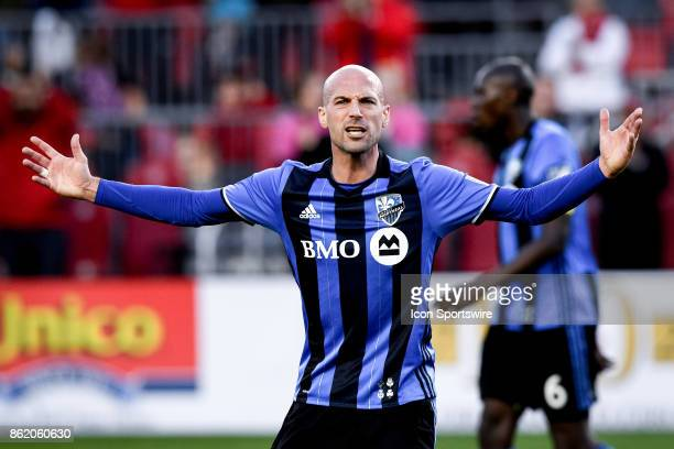 Laurent Ciman of Montreal Impact reacts during the first half of the MLS Soccer regular season game between Toronto FC and Montreal Impact on October...