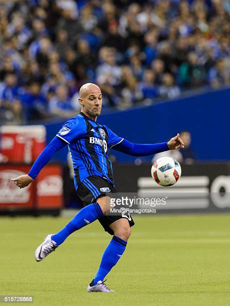 Laurent Ciman of the Montreal Impact kicks the ball during the MLS game against the New York Red Bulls at the Olympic Stadium on March 12 2016 in...