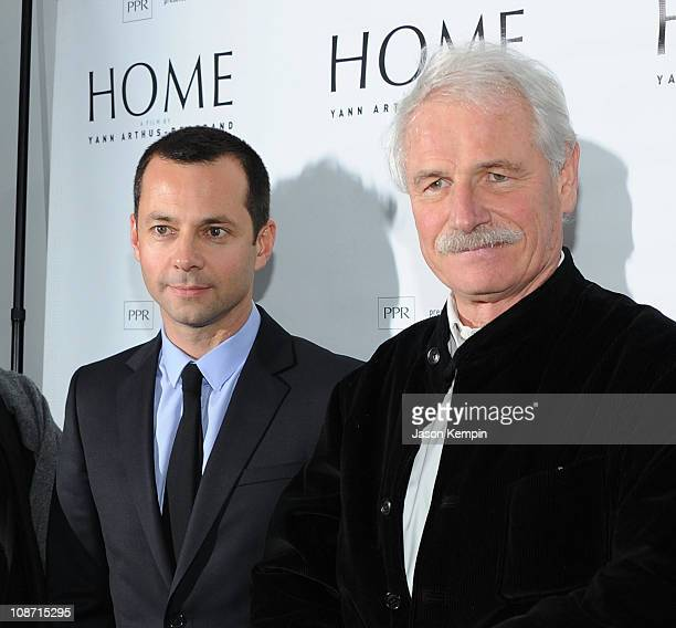 Laurent Claquin and filmmaker Yann ArthusBertrand attend the New York premiere of 'Home' at the Directors Guild of America Theater on February 1 2011...