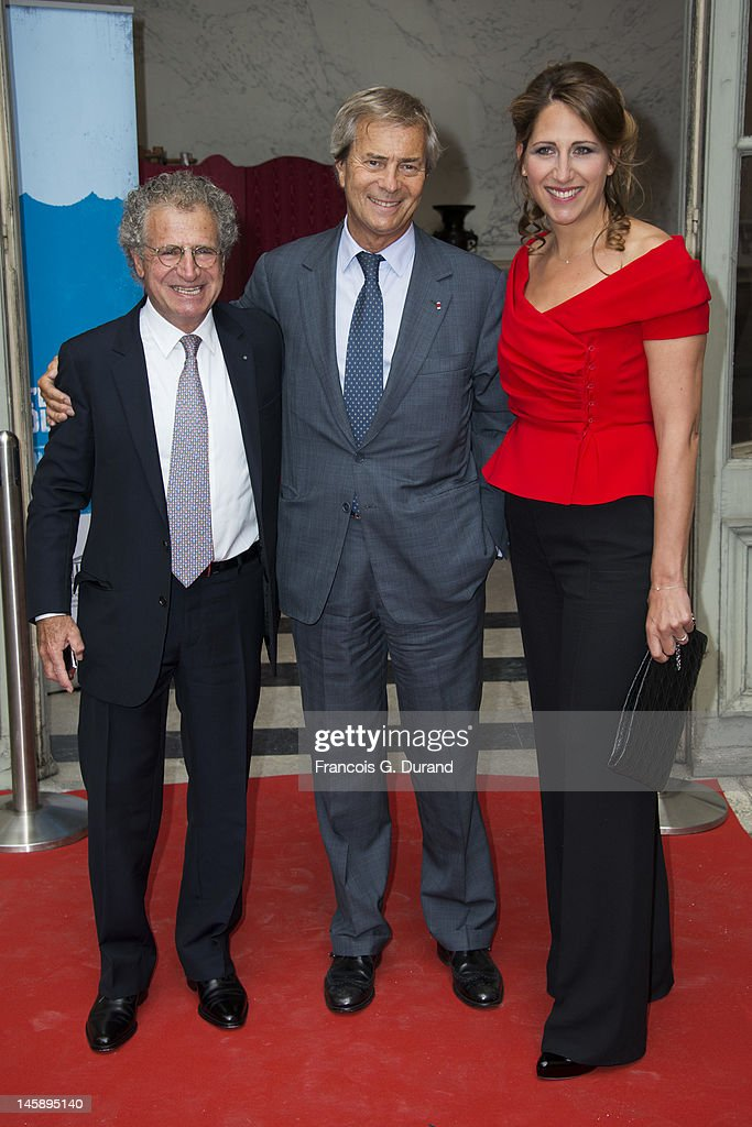 Laurent Dassault, Maud Fontenoy and Vincent Bollore arrive at the Maud Fontenoy Foundation Annual Gala at Hotel de la Marine on June 7, 2012 in Paris, France.