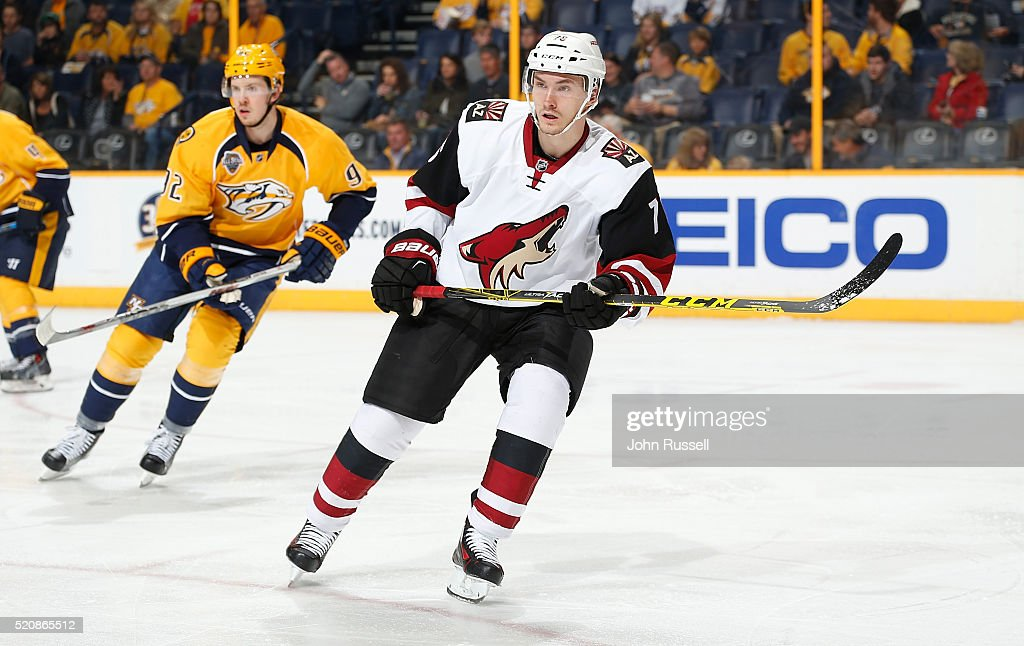 <a gi-track='captionPersonalityLinkClicked' href=/galleries/search?phrase=Laurent+Dauphin&family=editorial&specificpeople=10122405 ng-click='$event.stopPropagation()'>Laurent Dauphin</a> #76 of the Arizona Coyotes skates against the Nashville Predators during an NHL game at Bridgestone Arena on April 7, 2016 in Nashville, Tennessee.