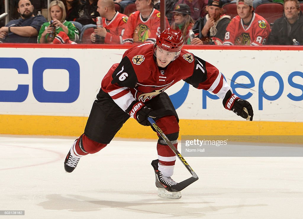 <a gi-track='captionPersonalityLinkClicked' href=/galleries/search?phrase=Laurent+Dauphin&family=editorial&specificpeople=10122405 ng-click='$event.stopPropagation()'>Laurent Dauphin</a> #76 of the Arizona Coyotes skates up ice against the Chicago Blackhawks at Gila River Arena on December 29, 2015 in Glendale, Arizona.