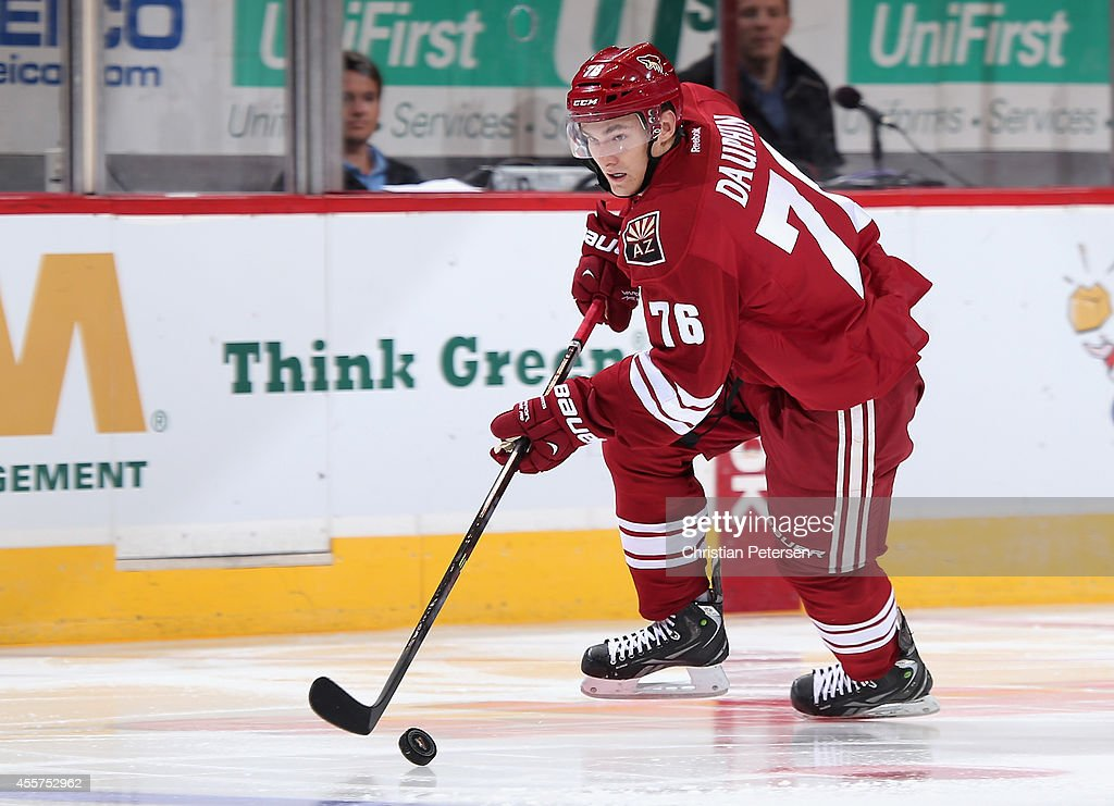 <a gi-track='captionPersonalityLinkClicked' href=/galleries/search?phrase=Laurent+Dauphin&family=editorial&specificpeople=10122405 ng-click='$event.stopPropagation()'>Laurent Dauphin</a> #76 of the Arizona Coyotes skates with the puck during the NHL rookie camp game against the Los Angeles Kings at Gila River Arena on September 16, 2014 in Glendale, Arizona.