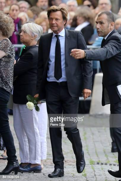 Laurent Delahousse attends Mireille Darc's Funerals at Eglise SaintSulpice on September 1 2017 in Paris France