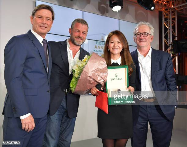 Laurent Delaney of Rolex Jacques Bungert The Evian Championship director Ai Miyazato of Japan and Franck Riboud chairman of Danone at the Rolex...