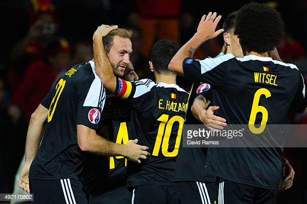 Laurent Depoitre celebrates with his teammtes after scoring his team's fourth goalof Belgium during the UEFA EURO 2016 Qualifier match between...