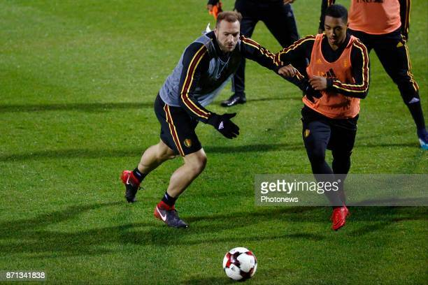 Laurent Depoitre forward of Belgium and Youri Tielemans midfielder of Belgium picture during the training session of the Red Devils at the national...