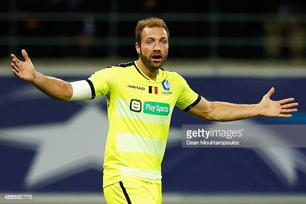 Laurent Depoitre of Gent reacts after he scores but the referee calls offside so the goal did not count during the UEFA Champions League Group H...