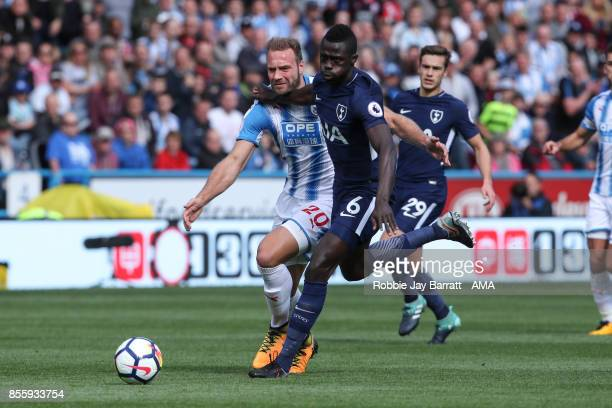 Laurent Depoitre of Huddersfield Town and Davinson Sanchez of Tottenham Hotspur during the Premier League match between Huddersfield Town and...