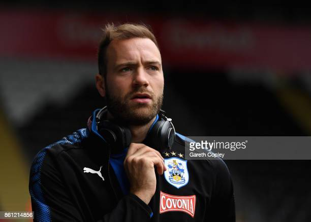 Laurent Depoitre of Huddersfield Town arrives at the stadium prior to the Premier League match between Swansea City and Huddersfield Town at Liberty...